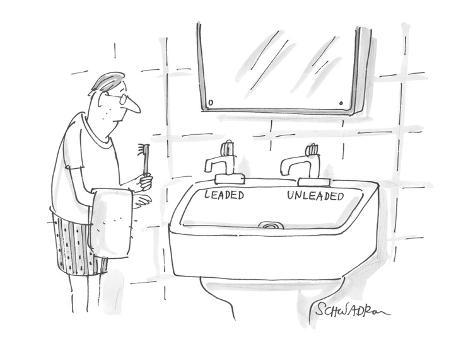 man approaches bathroom sink which has faucets labeled 'leaded' and 'unlea… - Cartoon Premium Giclee Print