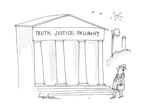 man, in Washington, walks past an institutional building with  'Truth, Jus… - Cartoon Premium Giclee Print