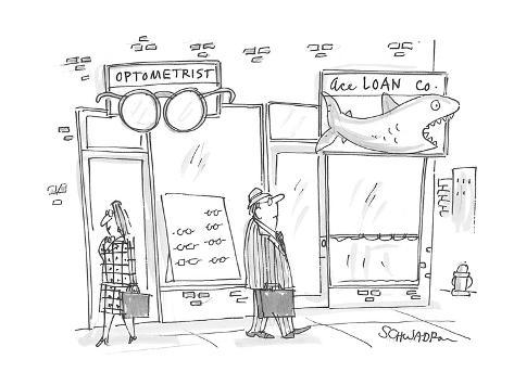 man walks past an optometrist's office with a large pair of glasses hangin… - Cartoon Premium Giclee Print