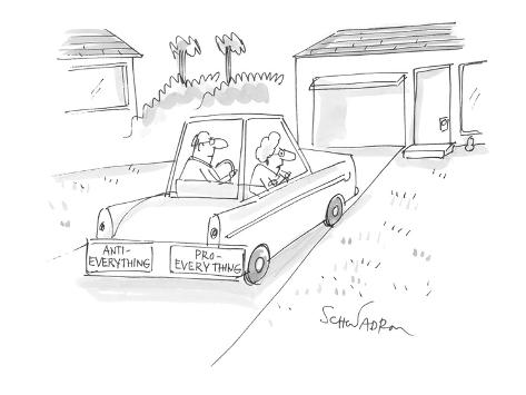 married couple's bumper stickers on car:  'Anti-Everything' on man's side;… - Cartoon Premium Giclee Print