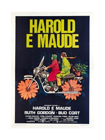 Harold and Maude, Italian poster, Ruth Gordon, Bud Cort, 1971 Art Print
