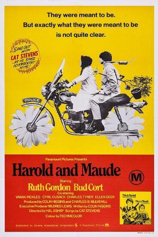 Harold and Maude, Ruth Gordon, Bud Cort, 1971 Art Print