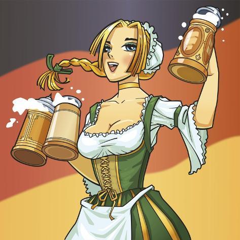 German Barmaid Stampa giclée