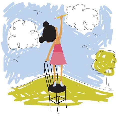 Imaginative little girl Lámina giclée