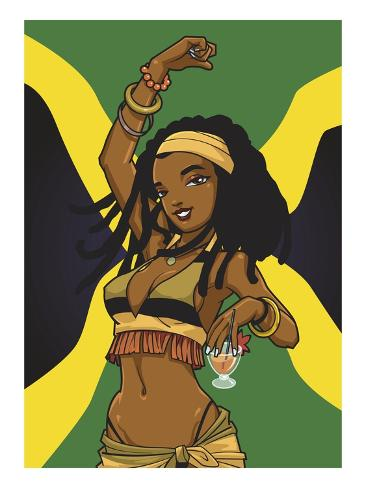 Jamaican Anime Girl Stampa giclée