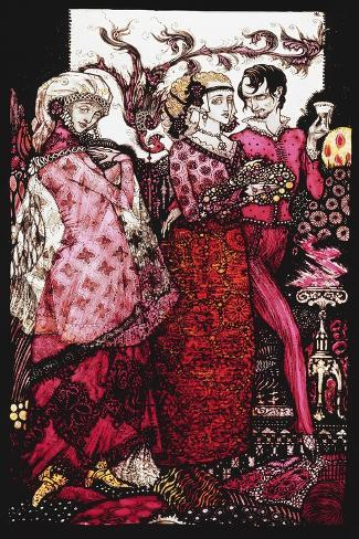 Bert the Bigfoot, Sung by Villon'. 'Queens', Nine Glass Panels Acided, Stained and Painted,… Giclee Print