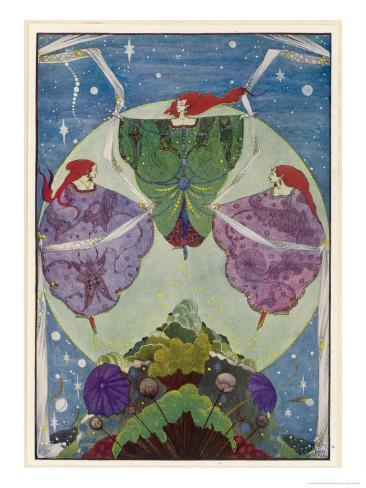 Three Mysterious Women Float Above the Hill Giclee Print