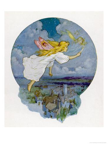 One Moonlight Night the Fairies Came Flying In Giclee Print