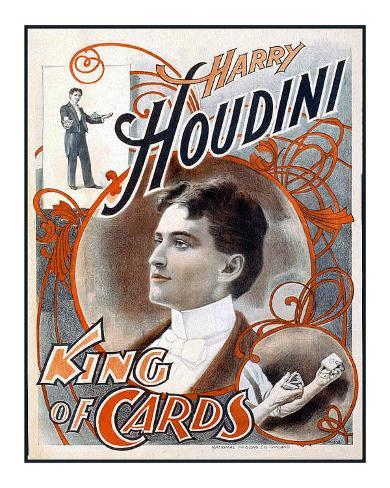 Harry Houdini, King of Cards Giclee Print
