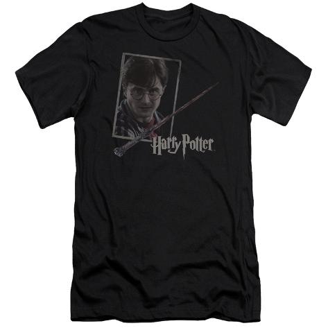 Harry Potter- Wand And Portrait (Premium) T-Shirt