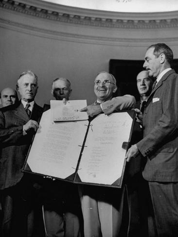 Harry S. Truman Displaying Surrender Documents from Japanese with US Sec of State Henry L. Stimson Stretched Canvas Print