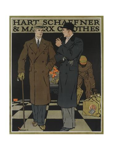 Hart Schaffner and Marx American Clothes Advertising Poster, Business Travelers Giclee Print