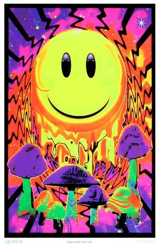 Have a nice trip flocked blacklight poster foto su for Poster psichedelici