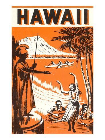 Hawaii, King Kamehameha and Outriggers Art Print