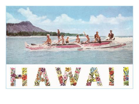 Hawaii, Outrigger at Diamond Head Art Print