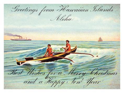Hawaii, Outrigger, Christmas Greeting Giclee Print