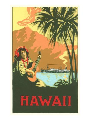 Hawaii, Volcano, Cruise Ship, Woman with Guitar Art Print