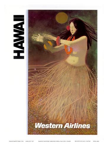 Hawaii Western Airlines Hula Dancer c.1960s Art Print