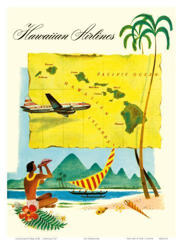 Hawaiian Airlines, Travel Brochure, c.1950s Art Print