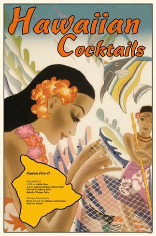 Hawaiian Cocktails Masterprint