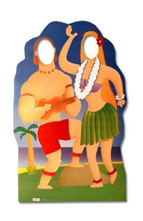 Hawaiian Couple Cut Out Lifesize Stand In Cardboard