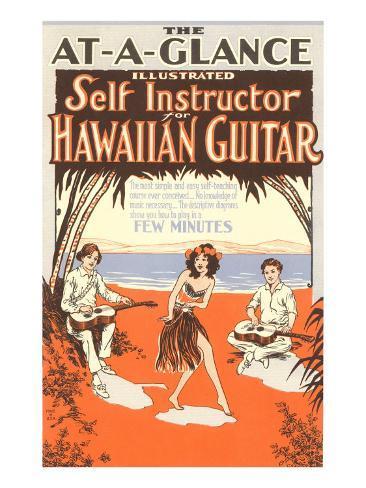 Hawaiian Guitar Instructions Art Print