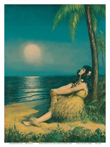 Hawaiian Hula Girl under the Full Moon Stampa artistica