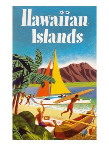 Hawaiian Islands Poster Art Print