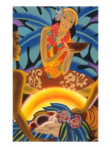 Hawaiian Woman at Luau, Graphics Art Print