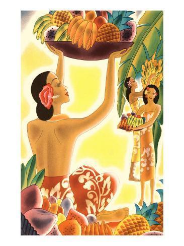 Hawaiian Women with Fruit, Graphics Art Print