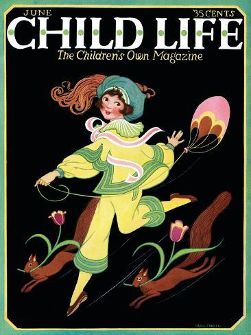 Dancing Girl with Squirrels - Child Life, June 1925 Giclee Print