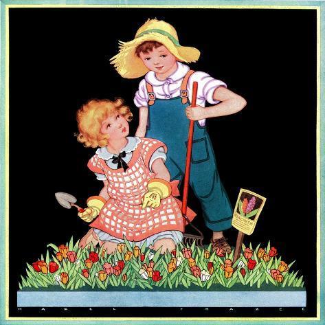 Planting Hyacinth - Child Life Giclee Print