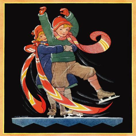 Skating Lesson - Child Life Giclee Print