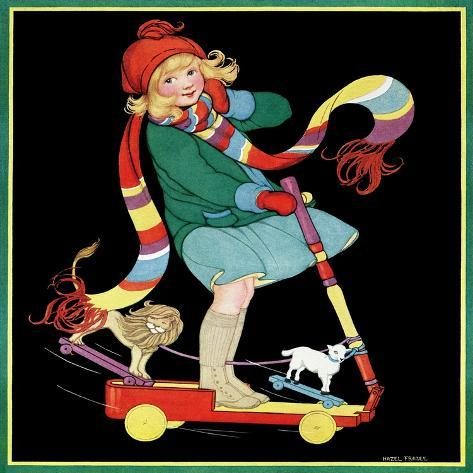 The Girl and the Scooter - Child Life Giclee Print