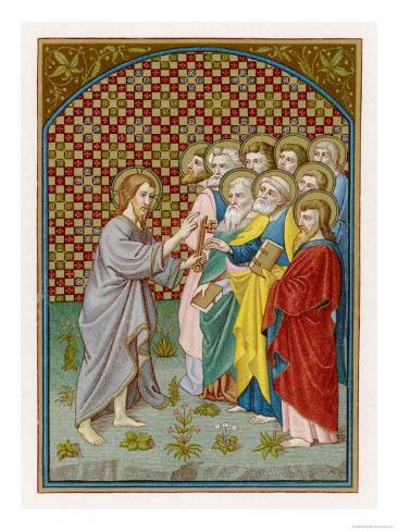 He Entrusts the Keys of the Kingdom to Peter Who Will Become the First Pope Lámina giclée