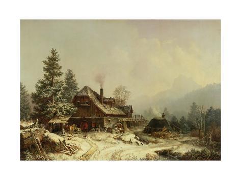 The Old Mill in Winter Impressão giclée