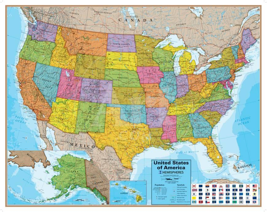 Hemispheres Blue Ocean USA Wall Map, Laminated Educational Poster ...