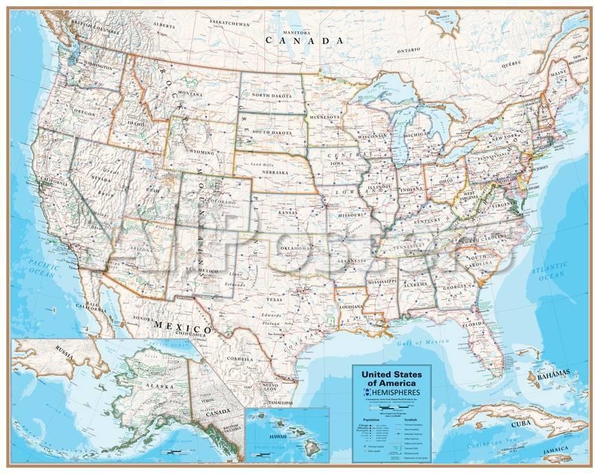 Hemispheres Contemporary Series USA Wall Map, laminated edition