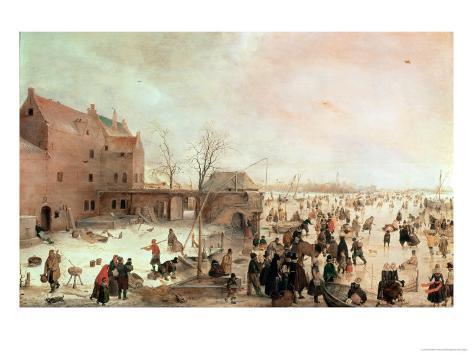 A Scene on the Ice Near a Town, circa 1615 Giclee Print
