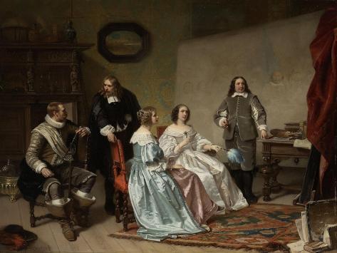 Princess of Orange Visiting the Work-Shop of Bartholomeus Van Der Helst Art Print