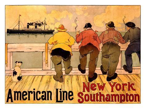 American Line, New York to Southampton Giclee Print