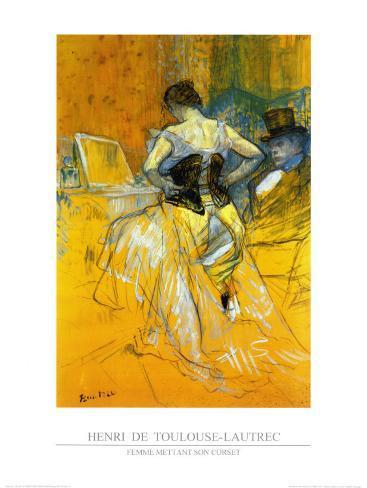 Femme Mettant Son Corset Art Print