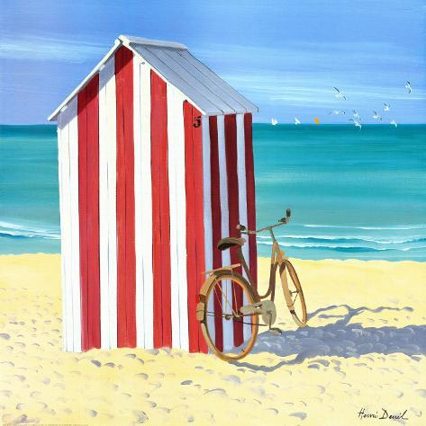 Candy Striped Beach Shack Poster por Henri Deuil na ...