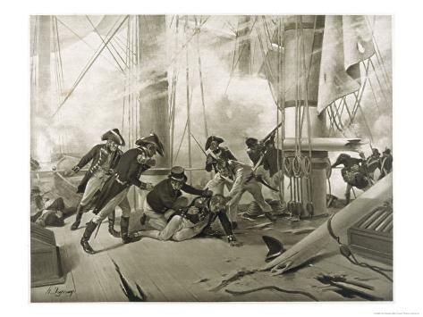 Battle of Trafalgar Nelson is Fatally Wounded Giclee Print