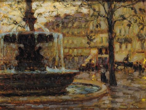 La Fontaine, Paris, 1904 (Oil on Panel) Lámina giclée