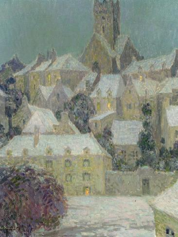 Winter Evening, View of a Town Giclee Print