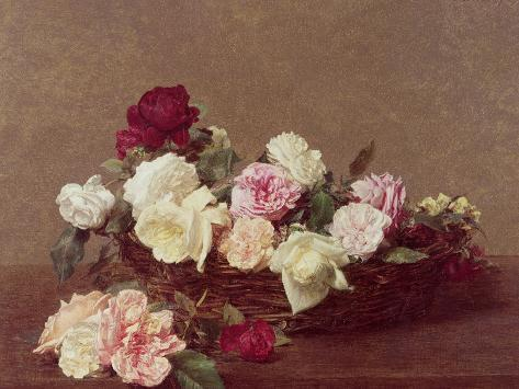 Henri Fantin Latour Still Life of White Roses Giclee Canvas Print  Poster