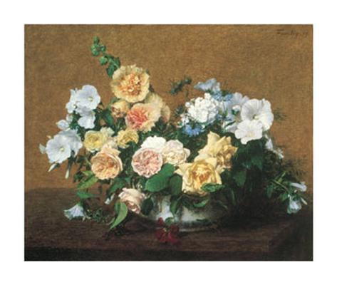 Bouquet de Roses et d'autres Fleurs Art Print