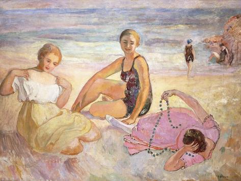 Three Women on the Beach; Trois Femmes a La Plage Lámina giclée