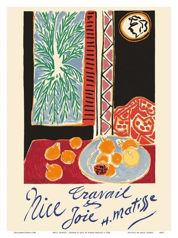 Nice, France - Travail et Joie (Work and Joy) - Still Life with Pomegranates Kunstdruk